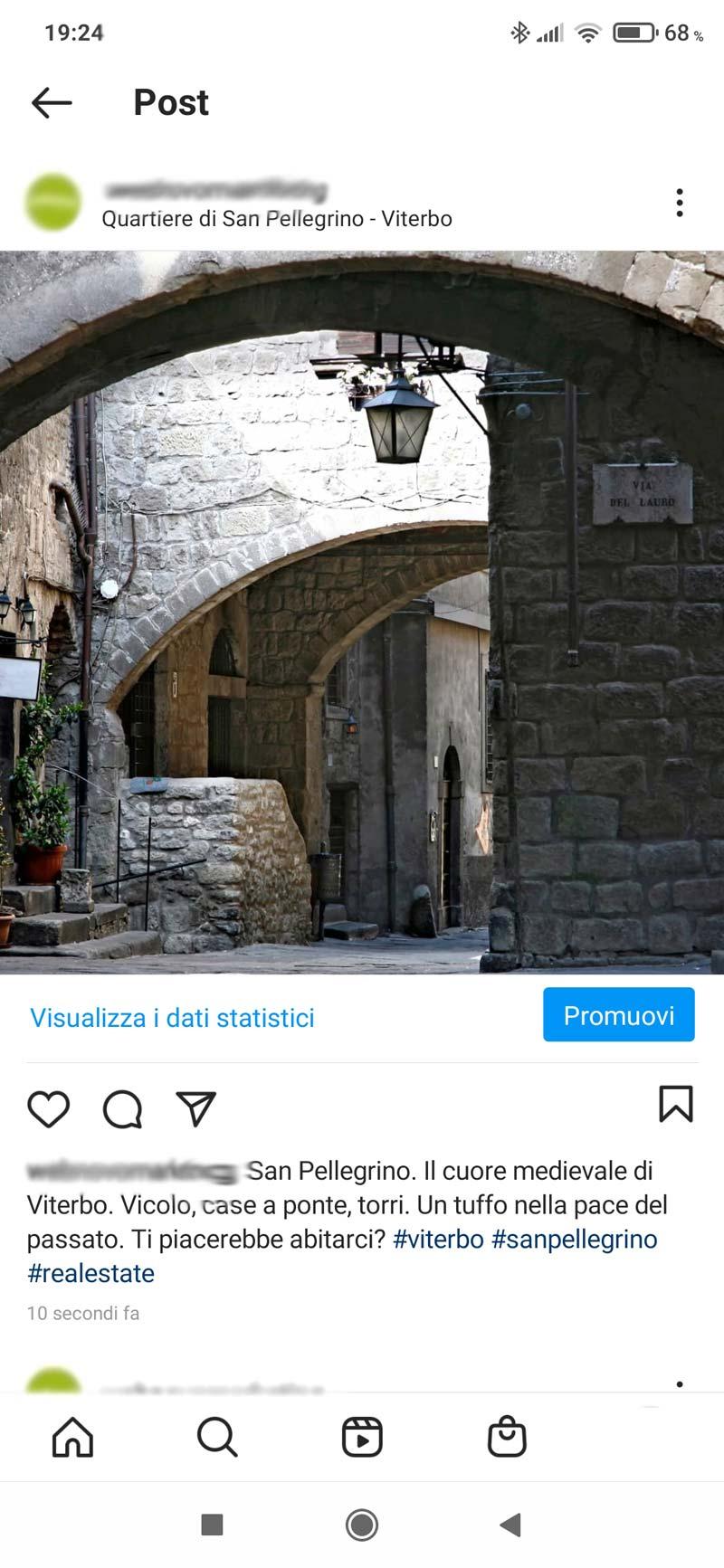 Esempio di post per promuovere la città al posto degli immobili